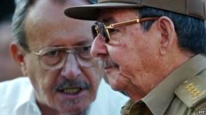 Faure Chomón y Raúl Castro. La Habana, Cuba.