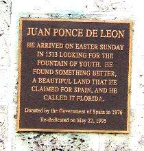 Tarja del monumento a Juan Ponce de León en Miami. Foto: Milvia Méndez