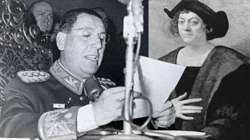 Discursos pronunciados en la Academia Argentina de Letras, con motivo del homenaje a Don Miguel de Cervantes, en el Día de la Raza de 1947. Foto publicada en la página de Infobae.