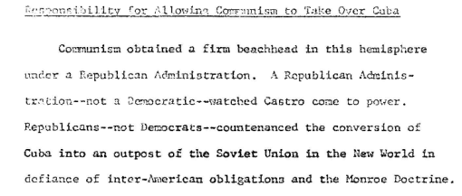 Reporte diplomático de 1964 sobre la responsabilidad del control comunista sobre Cuba, desclasificado y publicado por http://www.latinamericanstudies.org